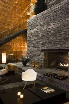 Huge stone fireplace at Copperhill Mountain Lodge - Åre, Sweden Interior Exterior, Interior Architecture, Interior Design, Room Interior, Copperhill Mountain Lodge, Modern Lodge, Fireplace Design, Fireplace Seating, Fireplace Wall