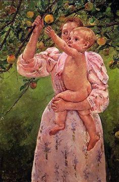 Mary Cassatt painting of Baby Reaching for an Apple (aka Child Picking Fruit) 1893 Renoir, Mary Cassatt Art, Pittsburgh, Edgar Degas, Kunsthistorisches Museum, Berthe Morisot, Impressionist Artists, Oil Painting Reproductions, Art Moderne