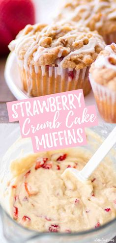 These homemade Strawberry Crumb Cake Muffins are incredibly moist, both from the. - Easy Dessert Recipes - These homemade Strawberry Crumb Cake Muffins are incredibly moist, both from the fresh (not frozen) - Strawberry Muffin Recipes, Strawberry Breakfast, Strawberry Muffins, Strawberry Cheesecake, Strawberry Bread Recipe With Frozen Strawberries, Desserts With Strawberries Easy, Cheesecake Desserts, Cheesecake Bites, Frozen Fruit