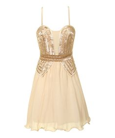 Take a look at this Beige Sequin A-Line Dress on zulily today!