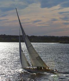 Sailing at Dusk, Castle Hill, Newport Rhode Island by John Collins