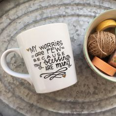 Christian coffee mug my worries are few by morningsunshineshop tasse café, Cute Coffee Mugs, Cute Mugs, Coffee Love, Coffee Shop, Coffee Cups, Tea Cups, The Menu, Dim Sum, Hand Painted Mugs