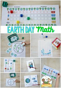Earth Day math activities for preschool. Your kids will have fun with these hands-on learning activities to support counting, number sense, patterns, graphing and more! Earth Day Activities for Kids Educational Math Games, Kindergarten Math Activities, Preschool Games, Learning Activities, Teaching Math, Literacy Worksheets, Learning Objectives, Teaching Spanish, Earth Day Games