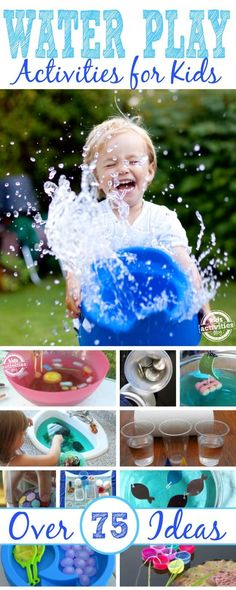 More Than 75 Water Play Activities Over 75 activities for playing with water! Kids will love this in the summer time (and parents will , too)! Summer Fun For Kids, Summer Activities For Kids, Games For Kids, Water Play Activities, Toddler Activities, Water Games, Family Activities, Outdoor Activities, Play Activity
