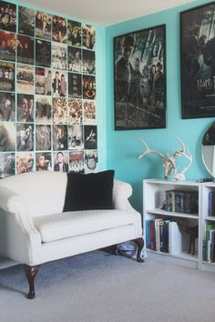 If teenagers need to hang poster on their walls frame them or create an interesting display like this left wall! Submitted byShannon Lowe