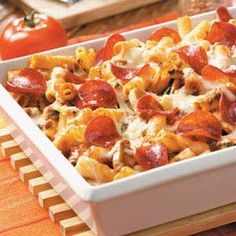 pepperoni ziti casserole. Incredibly bland but could be good with 1/2 spicy sausage- 1/2 turkey cooked up with onion and garlic. I used a whole pound of turkey and 10 oz of spinach.