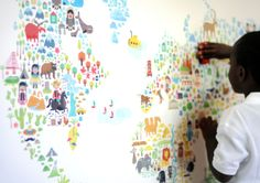 Iconic Cultural World Map Wall Decals from @popandlolli - we love it because its gender neutral and educational! #PNpartner