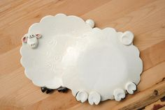 White sheep spoon rest or trinket dish by ShopBeckyZee on Etsy