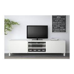 IKEA - BESTÅ, TV-Bank mit Schubladen, schwarzbraun/Selsviken Hochglanz beige, Schubladenschiene, sanft schließend, , Schubladen schließen langsam und geräuschlos dank integrierter Schnappfunktion.Dank mehrerer Öffnungen auf der Rückseite der TV-Bank lassen sich Kabel von Fernseh- und anderen Geräten verdeckt, aber griffbereit ordnen.Dank der Kabelöffnung auf der Oberseite der TV-Bank lassen sich Anschlüsse in den Bankkorpus leiten.