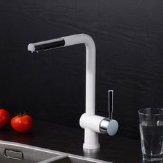 Jiuzhuo Modern Single Lever Swivel Spout Kitchen Mixer Tap with Pullout Spray,White and Polished Chrome Finish White Kitchen Faucet, Best Kitchen Faucets, Pull Out Kitchen Faucet, Kitchen Mixer Taps, Kitchen Fixtures, Bathroom Faucets, Kitchen And Bath, Cuisines Design, Chrome Finish