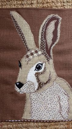 Rustic country cottage free motion embroidered patchwork hare/rabbit on a hessian backing Envelope opening inner included Applique Quilt Patterns, Hessian, Hare, Rabbit, Patches, Quilting, Reusable Tote Bags, Cushions, Sketch