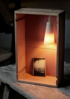 HANDMADE Photo Lightbox #241 _ Made in November 2015 | Half a  wine woodbox + Handmade cardboard frame +  watercolour paper lamp |