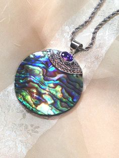 Sea Colors Abalone Necklace With Purple Sapphire by NorthCoastCottage, $149.00 #handmade #jewelry #etsy