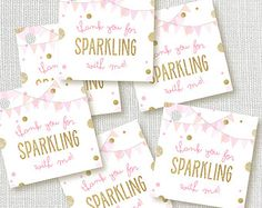 instant digital download: sparkle and shine thank you favor tags - she leaves a little sparkle favor
