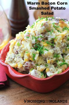 Warm Bacon Corn Smashed Potato Salad | Real Housemoms