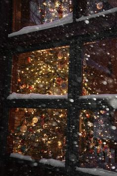 Christmas tree lights through snowy window