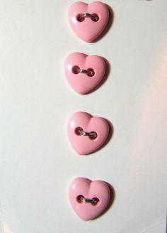 "4 - 3/8"" STREAMLINE HEART SHAPE PINK 2-HOLE BUTTONS - VINTAGE CARD Lot#PC49"