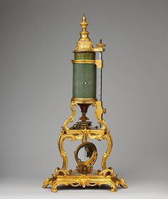 Microscope, Optical elements by Claude-Siméon Passemant  (1702–1769), ca. 1750, French (Paris)  Medium: Gilt bronze, blue-green sharkskin shagreen, parchment tinted green with gold tooling, steel, brass, mahogany, mirror glass, glass.