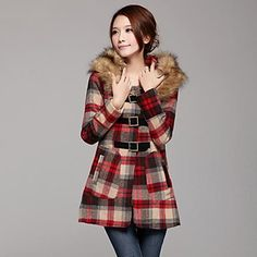 Women's Detachable Collars British Style Sub Wool Woolen Coat Outerwear – CAD $ 94.20