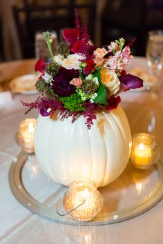 White Pumpkin Centerpiece{Aubergine & Marsala} Classic NC Fall Wedding|Photographer: Erin Costa Photography