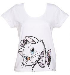 Damer vit Marie blommig Bow Aristocats Disney Scoop Neck T-Shirt från elva Paris