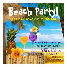 Custom Palm Tree Cocktails Adult Beach Party Custom Invites created by InvitationCentral. This invitation design is available on many paper types and is completely custom printed. Beach Party Invitations, Cocktail Party Invitation, Birthday Invitations, Invites, Invitation Ideas, Beach Ball Birthday, Luau Birthday, Summer Birthday, 12th Birthday