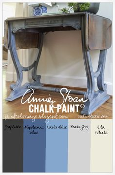 COLORWAYS Console table painted with Annie Sloan Chalk Paint® Graphite, Napoleonic Blue, Louis Blue, Paris Grey, Old White Annie Sloan Chalk Paint Graphite, Annie Sloan Chalk Paint Inspiration, Gray Chalk Paint, Chalk Paint Colors, Annie Sloan Paints, White Chalk, Chalk Paint Projects, Chalk Paint Furniture, Furniture Design