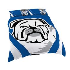 Australia's largest range of Canterburry Bulldogs Licensed Quilt Duvet Doona Bedding Cover Sets. Canterbury Bulldogs, Double Quilt, Team Logo Design, Rugby League, Duvet Bedding, Quilt Cover Sets, Bed Covers, Disney Characters, Fictional Characters
