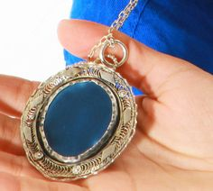 Blue agate, Long necklace, Handmade Necklace, Silver filigree pendant, Blue Agate necklace, Blue jewelry, Easter jewelry, Healing Stone