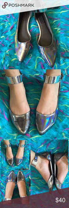 •Deena&Ozzy Reflective Rainbow Holographic Flats• Brand new without tags and box!! Small black mark on the back from paint I believe. Size 8 Deena & Ozzy Shoes