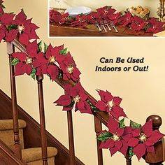 Poinsettia Garland  Holiday cheer goes cordless! This battery-powered decoration really captures the festivity of the season. It glows with 10 bright LED red lights that can be set to steadyon or blinking. Blooms are flocked for a true-to-life look. Wrap the colorful garland around banisters, drape across a buffet table or mantel, or place anywhere you want to add some seasonal cheer indoors or out.