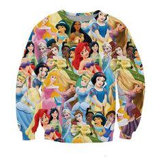 Women/Men 3d Princess Printed Sweatshirt Snow White/Cinderella/Aurora/Ariel Mermaid/Belle Princess Sweatshirts Hoodies