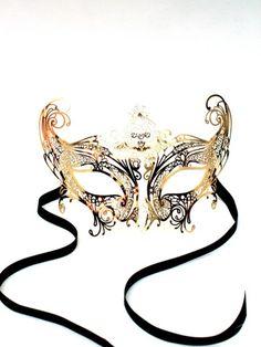 Fancy Dress: Gold Gossip Girl Catwoman Metal Filigree Mask