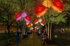 Discovery Green will again captivate downtown visitors with two art installations this winter: Firmament , a vibrant canopy of LED lights by acclaimed Burning Man artist Christopher Schardt, and Enchanted Promenade , towering colorful peonies by TILT, a French light art and design studio. An initiative of Discovery Green's thoughtful and engaging interactive programming, this winter's installations promise to capture the imagination of Houstonians, tourists and park-goers. The bright…
