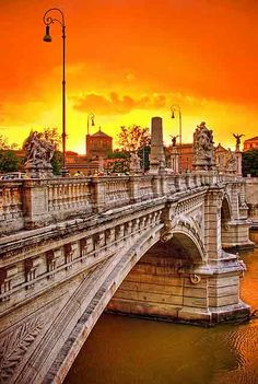 Sunset in Rome rome italy, sunsets, amaz, visit, beauti, bridg, travel, place, itali