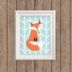 Fox Art Print  Herringbone Fox Woodland by MooseberryPrintShop, $18.00