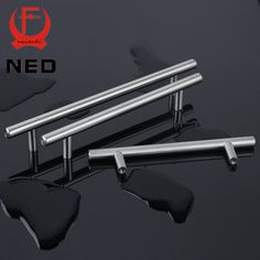 "NED 4"" ~ 24'' Stainless Steel Handles Diameter 10mm Kitchen Door Cabinet T Bar Straight Handle Pull Knobs Furniture Hardware"