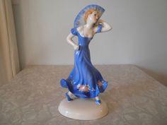 Vintage Art Deco Hand Painted Female Fan Dancer Blue Dress & Fan With Roses Vintage Home Decor, Vintage Art, Alter Ego, Have Some Fun, Blue Dresses, Dancer, Art Deco, Roses, Hand Painted