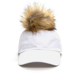 ebd321db47 WHITE Fluff Up Faux Fur Pom-Pom Cap ( 16) ❤ liked on Polyvore featuring  accessories