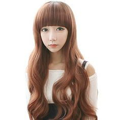 Fashion Curly Hair Long Wavy Synthetic Full Bang Wigs 3 Colors Available