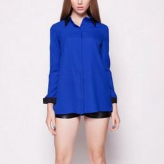 AUTUMN NEW FASHION WOMEN'S TURN DOWN COLLAR LONG-SLEEVED BLUE BLACK CONTRAST COLOR PATCHWORK LONG SECTION SHIRT 1863