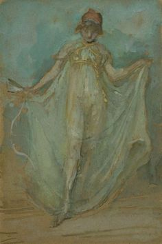 Green and Blue: The Dancer (c.1893). James McNeill Whistler (American, 1834-1903). Transparent and opaque watercolor, over traces of black chalk, on brown wove paper, laid down on card.  Art Institute of Chicago.