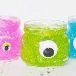monster glitter slime halloween party treat craft idea -- sensory idea for monster week Halloween Party Treats, Halloween Class Party, Halloween Favors, Halloween Crafts For Kids, Halloween Fonts, Easy Halloween, Holiday Crafts, Monster Party, Monster Birthday Parties