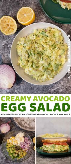 Avocado Egg Salad takes everything you love about egg salad and adds healthy avocado. Made flavorful with red onion, lemon juice, and a little hot sauce. #dinner #salad #eggsalad #avocado #sidedish #dinnerthendessert Egg Salad Recipe With Relish, Best Egg Salad Recipe, Soup And Salad, Salad Recipes, Avocado Egg Recipes, Avocado Egg Salad, Potato Recipes, Healthy Egg Salad, Easy Egg Salad