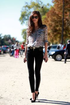 "The ""it girl"" outfit... a leopard print blouse, skinny black jeans, and stilettos."