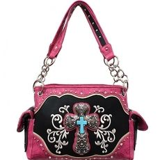 Concealed Carry Rhinestone Cross Handbag-PINK $42.95 http://www.sparklyexpressions.com/#1019