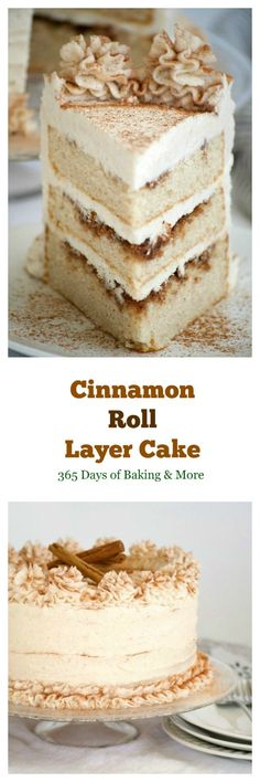 This Cinnamon Roll Layer Cake is a three layer cake with each layer covered in a cinnamon glaze and completely frosted with a incredible cinnamon frosting.