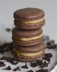 Chocolate Peanut Butter Macarons via The Baker Chick