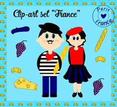 50% off for the first 24 hours! This adorable clip-art set is a ready to use collection of images symbolizing France. The set consists of 8 high-resolution clip-art images as well as digital paper page and page border in 300 dpi, .png format (digital paper in .jpg).