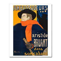 Henri de Toulouse-Lautrec: Ambassadeurs: Aristide Bruant 16 x 20 in. Print